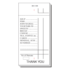White Single Part, 100 Sheet, 2 1/2 x 5'' (4'' Tear Out) Numbered 1-100 In Red In 3 Positions